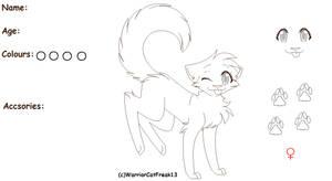 Female Cat Ref Sheet LineArt by WarriorCatFreak13