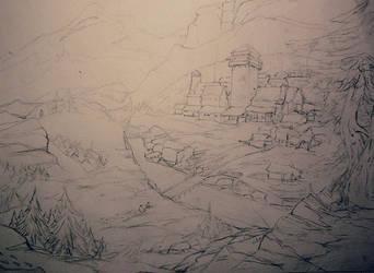 Skyrim - Mountain Village WIP by Jardar