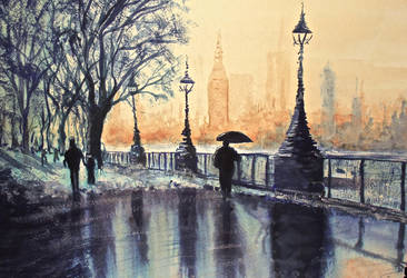 Blue monday - Watercolour painting of london by StuartShields