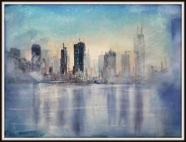 Watercolour cityscape 'sunset mist' by StuartShields
