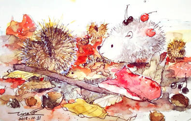 A little hedgehog's autumn by tinashan