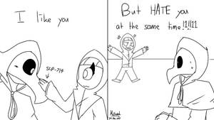 Me to SCP-049 in the game by WaffleBunnyPie