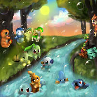 Starter Pokemon by Hibouette