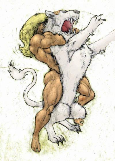 Ka-Zar choking a white lion by Musclelicker
