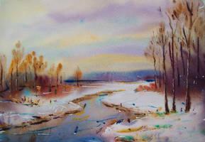 Melting snow by Lukyanovart