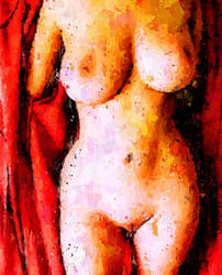 sexy nude in red by Art-Curator