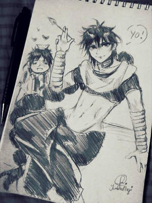 Judar and Hakuryuu - Magi doodle by YumikoNagi