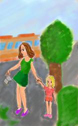 Mother daughter walk by Diakoart