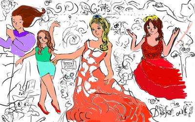 Girl doodles by Diakoart