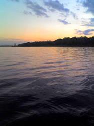 sunset on lake by rosecoloredglass