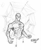 Spidey pen sketch by Glwills1126