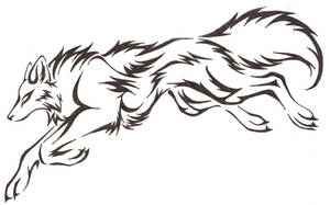 Leaping Wolf- tattoo by CaptainMorwen