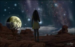 Moon Gazing Girl by MichaelAtman