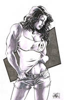 She-Hulk sketch in b and w by RougeDK