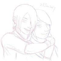 Zelda and Michael hug by RiverKpocc