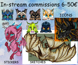 STREAM: in stream commissions 6-50 euros OPEN NOW! by Drerika