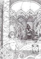 Scarlet and Sheba bw by dragonladych