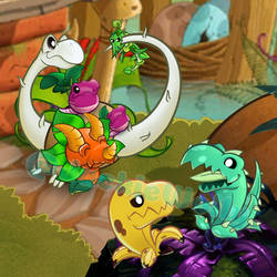 PvZ Heroes FanArt: Dino Fun by JackieWolly