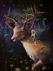 The Deer and the Fairy by maril1