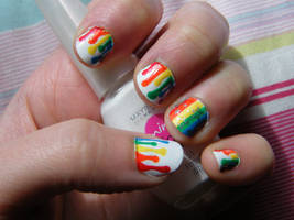Dripping Rainbow Paint by natsnails
