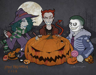 Halloween Mischeif with Lock, Shock, and Barrel by littleFernanda