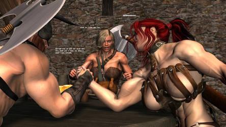 Red Warrior Elda: Armwrestling by plinius