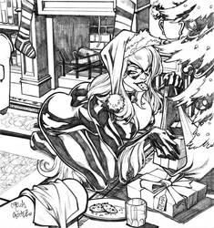 X-mass Black Cat Sketch by CarlosGomezArtist