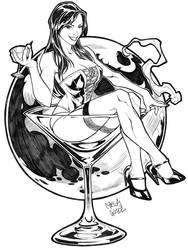 Martini girl tattoo commission by CarlosGomezArtist