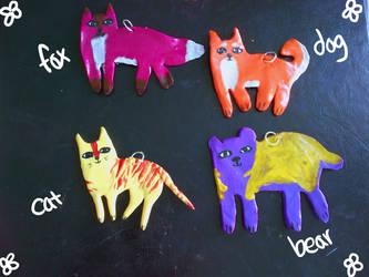 Fox, Dog, Cat, and Bear Charms by Potatoskin