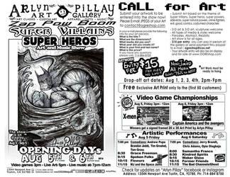 Super Villains Super Heroes art show flyer by ArlynPillay