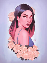 -Girl with roses- by EmanueleEramoArt