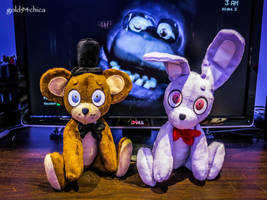 Freddy + Bonnie Custom Plushies!! by gold94chica