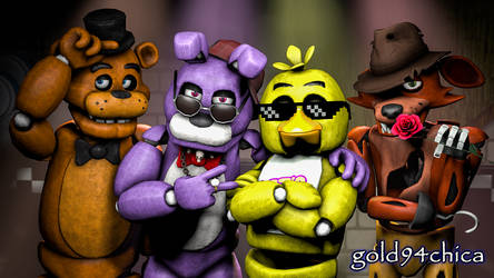 Epic Friends Forever (FNAF SFM Wallpaper) by gold94chica