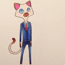 Siamese Business Cat by Katzun
