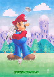 Mario is playing golf by SuiseiKillfaeh