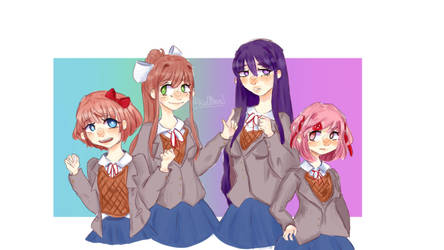 Doki doki literature club!! by Isdattoaster