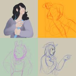 PNO || sketching peeps (i didn't finish) by Flowerbush