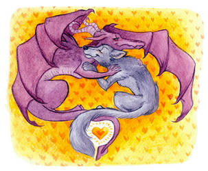 Dragon and Wolf by Phee