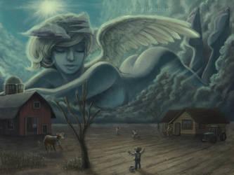 Giant Rain Angel by evilcomenotnear