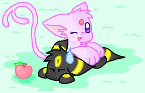 Chibi Espeon and Umbreon by Espyfluff