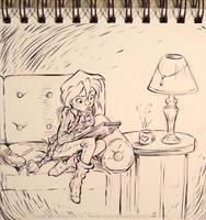 InkTober - Day 19 - A Gal Sketching by Heidi-Celestial