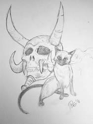 Mr Bigglesworth and Kel'thuzad's Skull doodle by PDG-art