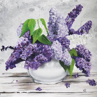 Lilac Flowers in White Pot by justanothercreator