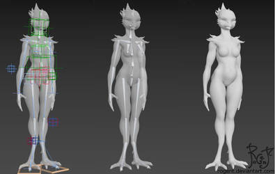 Avian WIP 003 - posing rig by Rogent