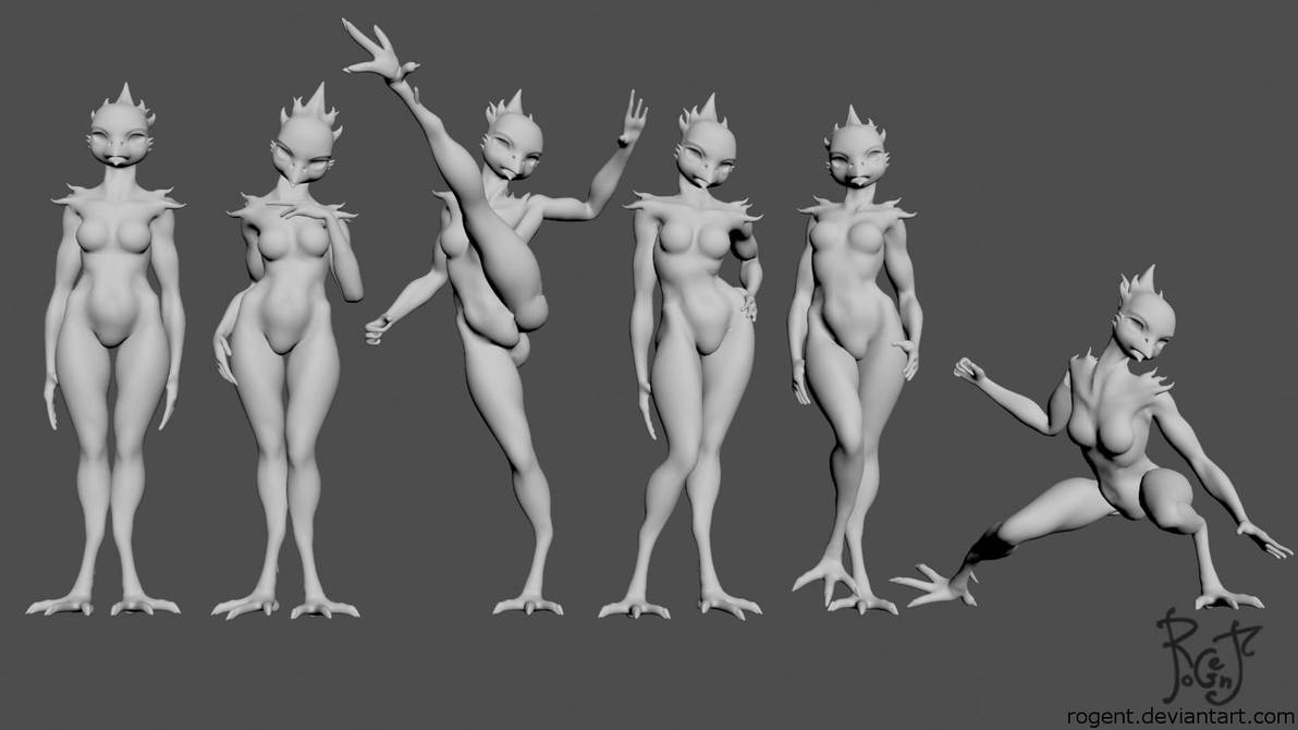 Avian WIP 004 test poses by Rogent