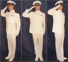 Ryan USNA Dress Whites Salutes by FantasyStock