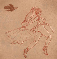 mai shiranui jumping sketch by kusanagisensei