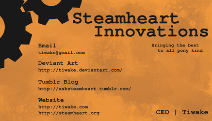 Steamheart Innovations business card by tiwake