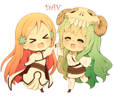 Chibi Orihime and Chibi Neliel by DAV-19