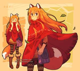Fox and poncho by DAV-19